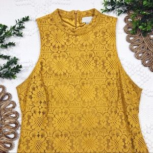 Forever 21 Plus Golden Yellow Floral Lace Dress